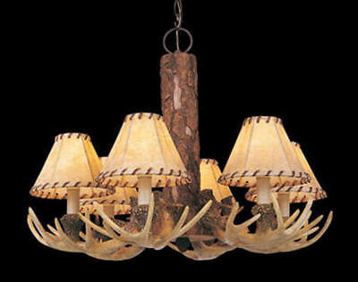 "6 Light 24"" Antler Chandelier Rustic Country Log Cabin Lodge man cave hunting"