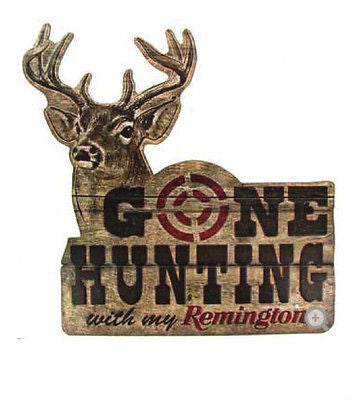 Gone Hunting Embossed Die Cut Tin Sign  Remington