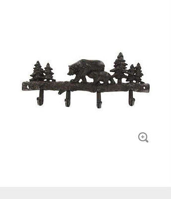 Dark Brown Cast Iron Bear Coat Rack with 4 Hooks