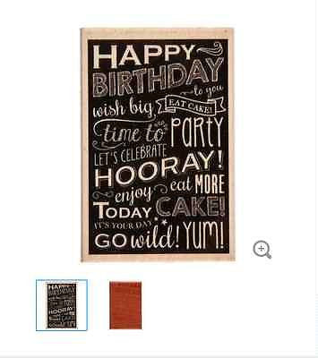Chalkboard Happy Birthday Rubber Stamp