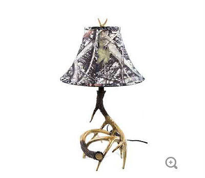 Deer Antler Lamp with Camouflage Shade