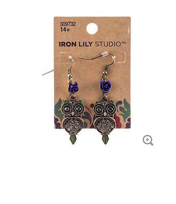 Antique Brass Owl Earrings