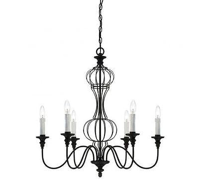 "6-Light 29"" Forged Black Incandescent Chandelier Modern Gothic NEO Steampunk"