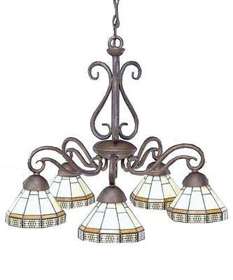 5-Light 20'' Bronze Chandelier Mission Tiffany Style Slag  Glass