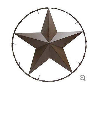 "25"" Brown Metal Star in Barbed Wire Circle"