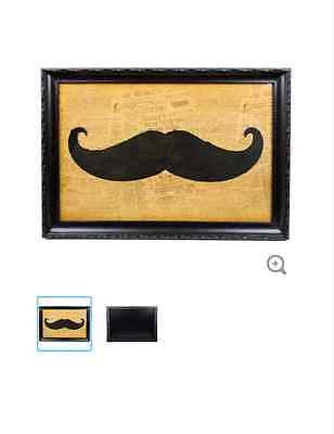 Framed Mustache Wall Art with Newsprint Background