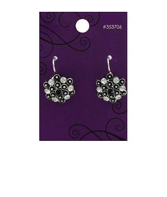 Crystal & Jet Rhinestone Earrings
