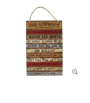 The Cowboy's Ten Commandments Plaque