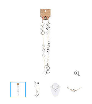 Gold, Silver & Bronze Square Spacer Necklace