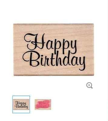 Elegant Happy Birthday Rubber Stamp