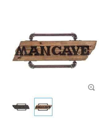 Man Cave Wood & Iron Pipe Wall Plaque