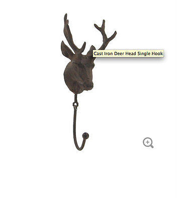 Cast Iron Deer Head Single Hook