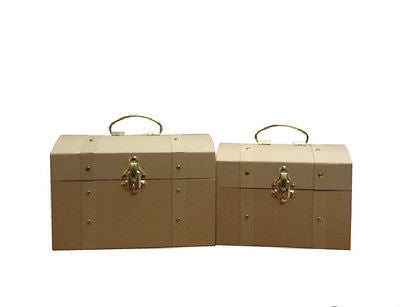 Paper Mache Trunk Set with Brass Trim & Latch