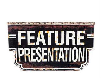 Distressed Black Feature Presentation 3-D Sign