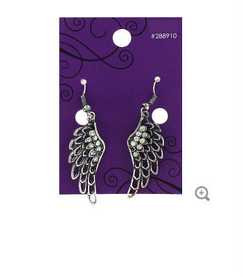 Angel Wing Earrings with Rhinestones