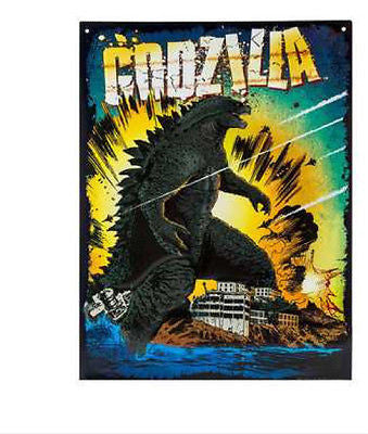 Godzilla Water Scene Embossed Die Cut Tin Sign