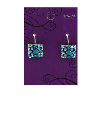 Blue Square Rhinestone Earrings