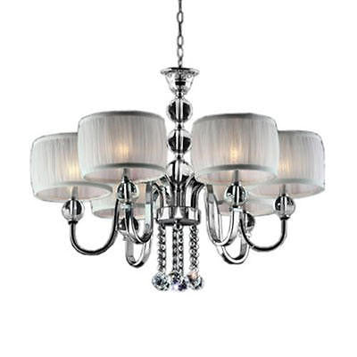 6-Light 29.5'' Polished Chrome Chic  Chandelier With White Pleated Fabric