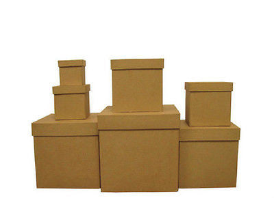 7-Piece Paper Mache Square Box Set