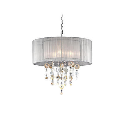 3-Light 21'' Polished Chrome Chandelier With White Fabric Shade Chic Modern