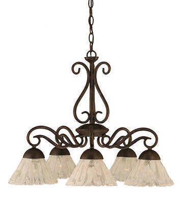 5-Light 20'' Bronze Incandescent Chandelier with Italian Ice Glass Modern