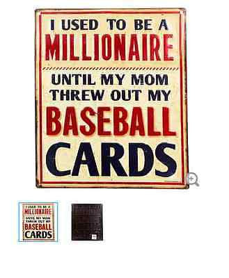 Baseball Card Millionaire Embossed Tin Sign