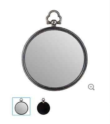 Round Antique Black Metal Mirror with Top Handle