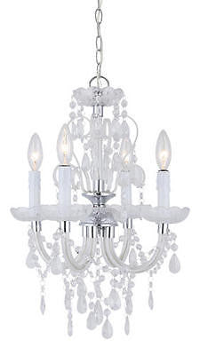 "14 1/2"" 4 Light Chandelier with Crystal Glass Accents Chic Modern Pendant"
