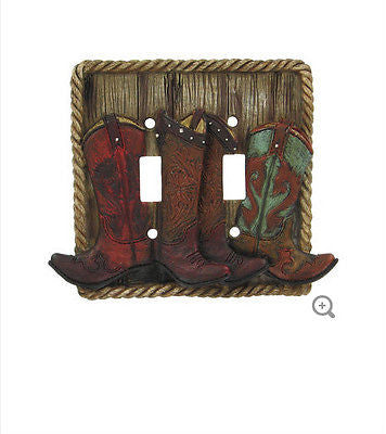 Cowboy Boots Double Switch Plate Cover