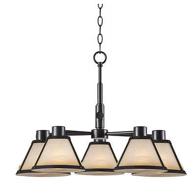 5 Light Bronze Chandelier Mission style Light Amber Glass Pendant Fixture