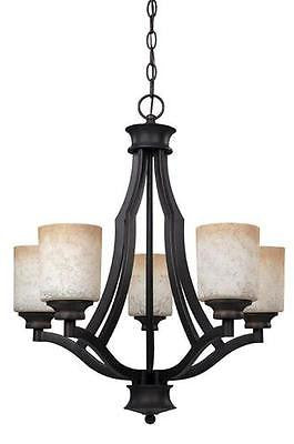 Country Rustic Modern Antique 5 Light Chandelier Tea Stained Glass Candle