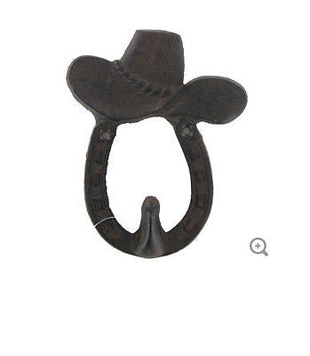 Cast Iron Cowboy Hat & Horseshoe Hook