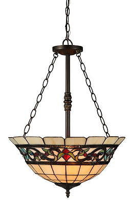 "2-Light 24"" H Bronze Pendant Fixture Tiffany style stained glass"