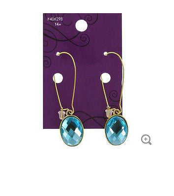 Aqua Rhinestone Cabochon Earrings