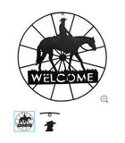 Metal Welcome Wagon Wheel with Horse & Cowboy