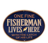 Fisherman Lives Here Embossed Die Cut Sign