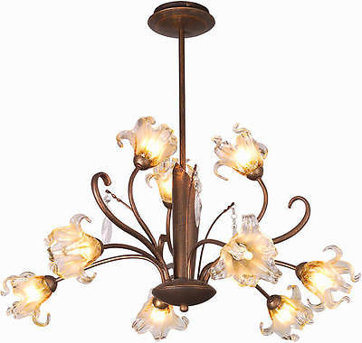 "28"" Antique Bronze 9-Light Chandelier Flower Petal Shade Floral Country Chic"