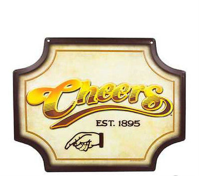 Cheers Embossed Die Cut Tin Sign