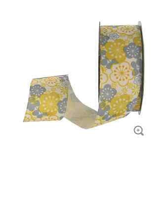 "Gray & Yellow 1 1/2"" Packed Floral Grosgrain Ribbon"