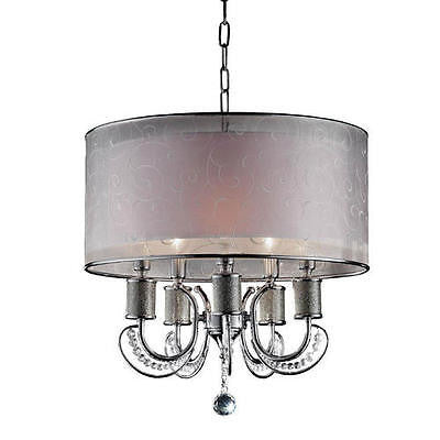 5-Light 20'' Polished Chrome Chandelier Embroidered Fabric Shade Modern Chic