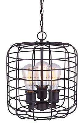 "12"" 3 Light Pendant Chandelier Vintage Style Steampunk Industrial Cage Edison"