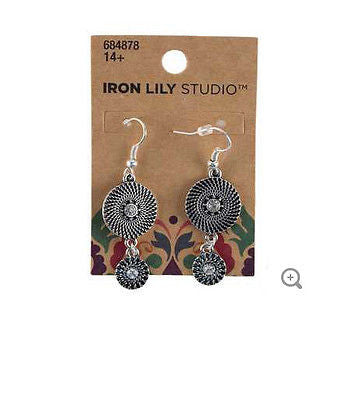 Black & Silver Textured Metal Earrings