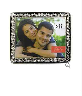 "10"" x 8"" Silver & Black Swirl Frame with Bling"