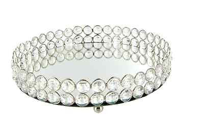 Mirrored Vanity Tray Oval Jewelry Dresser Dish Crystal Perfume Makeup Trinkets