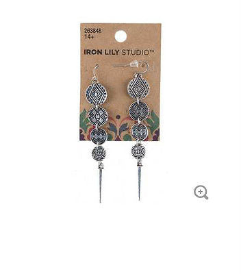 Antique Silver Tribal Coin Earrings