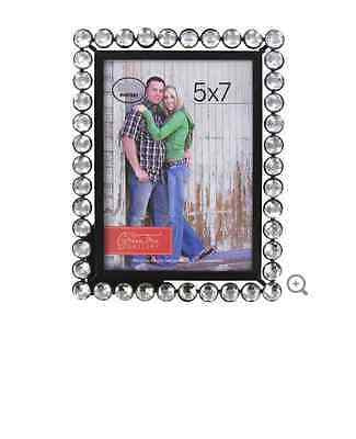 "5"" x 7"" Black Metal Picture Frame with Clear Bling"