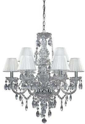"9-Light 25.25"" Clear Crystal Chandelier Pendant Light Fixture Fabric Shade Chic"