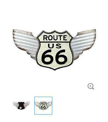 Winged White Route 66 Tin Sign
