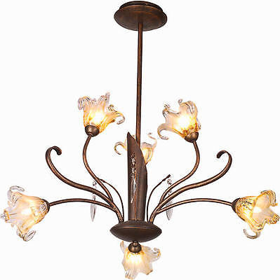 "22"" Antique Bronze 6-Light Chandelier Flower Petal Shade Floral Fixture Glass"
