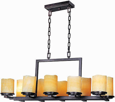 "16.5"" Rustic Ebony 10-Light Single-Tier Chandelier Country Rustic Chic Candle"